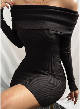 Solid Long Sleeves Bodycon Above Knee Little Black/Sexy/Casual Dresses