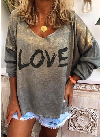 Figura Nadruk Okrągły dekolt Długie rękawy T-shirty (1044356712)