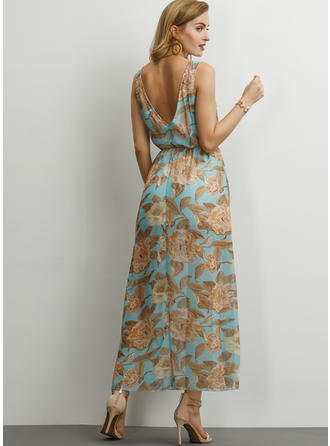 Print/Floral Sleeveless A-line Maxi Casual Dresses