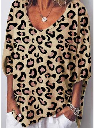 Leopard V-Ausschnitt 3/4 Ärmel Freizeit T-shirts