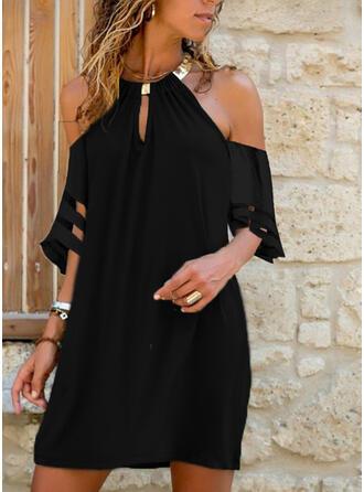 Solid 1/2 Sleeves/Cold Shoulder Sleeve Shift Above Knee Little Black/Casual Dresses