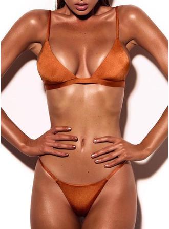 Sexig Solid färg Rem Bikinis Baddräkt