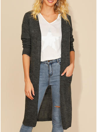Acrylic Long Sleeves Plain Cardigans
