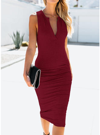 Solid Sleeveless Bodycon Midi Sexy/Party/Elegant Dresses