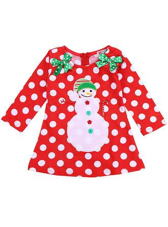 Dziewczyny Okrągły Dekolt Polka Dot Party Boże Narodzenie Sukienka