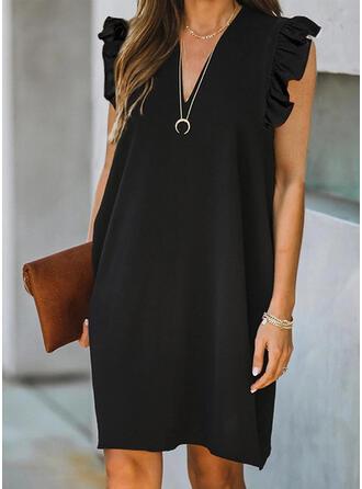 Couleur Unie Sans Manches Droite Au-dessus Du Genou Petites Robes Noires/Décontractée Robes