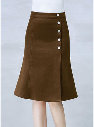 Polyester Plain Knee Length Flared Skirts