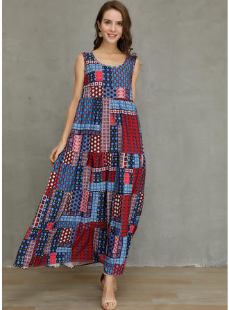 Patchwork Sleeveless Shift Maxi Casual/Vacation Dresses