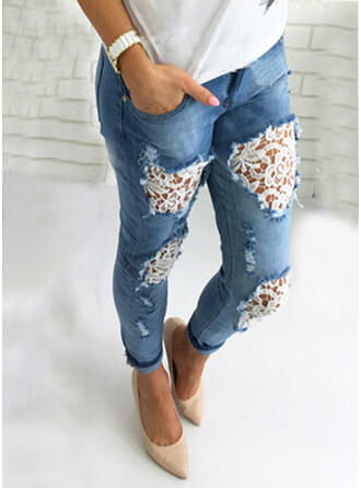 Patchwork Pockets Shirred Long Elegant Sexy Lace Denim & Jeans