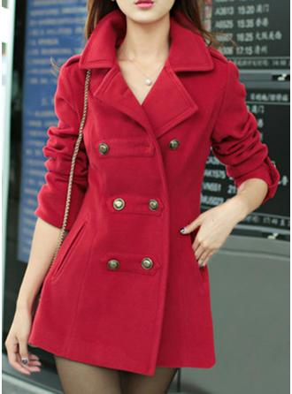 Polyester Long Sleeves Plain Denim Coats