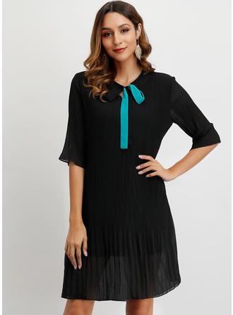 Solid 1/2 Sleeves Shift Above Knee Little Black/Casual/Elegant Dresses