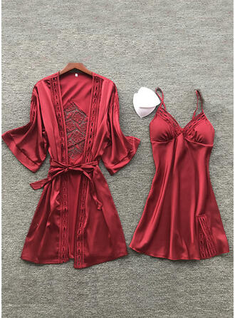 Poliéster Mesh Baby-doll Robe