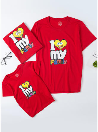 Letter Cartoon Familie Matchende T-shirts