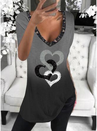 Gradient Hjerte Print pailletter V-hals Korte ærmer T-shirts