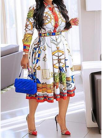 Print Long Sleeves A-line Casual/Plus Size Midi Dresses