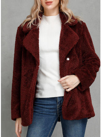 Polyester Long Sleeves Plain Wide-Waisted Coats