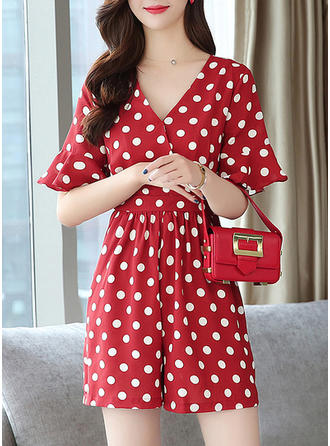 PolkaDot 1/2 Sleeves/Flare Sleeves Above Knee Casual/Elegant Dresses