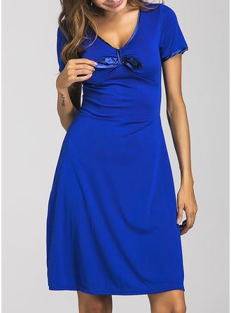 Solid Bow V-neck Knee Length A-line Dress