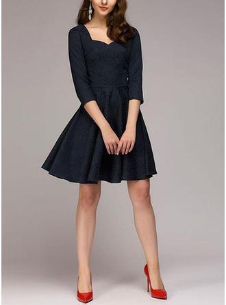 Manches 1/2 Trapèze Au-dessus du genou Style Vintage/Petites noires/Fête/Élégante Robes