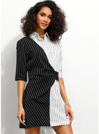 Striped/Patchwork 1/2 Sleeves A-line Above Knee Casual/Elegant Dresses