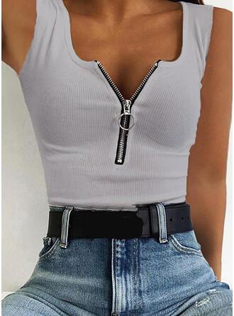 Solid V-Neck Sleeveless Casual Knit Tank Tops