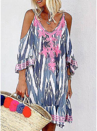 Lace/Tie Dye 3/4 Sleeves Shift Knee Length Casual/Vacation Tunic Dresses (199297935)