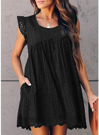 Solid Cap Sleeve Shift Above Knee Casual Dresses