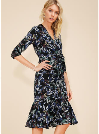 Print 1/2 Sleeves Sheath Knee Length Casual/Elegant Dresses