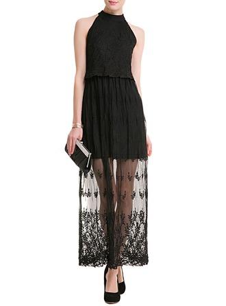 Sequins Stand collar Midi A-line Dress