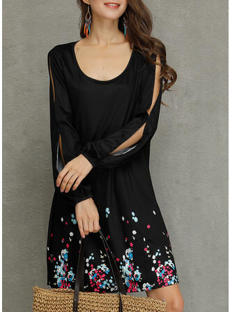 Print Long Sleeves/Split Sleeve Shift Above Knee Casual Tunic Dresses