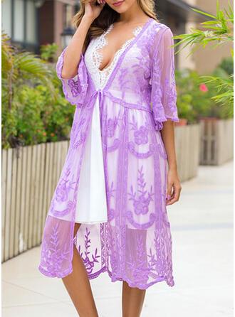 Blommig Enfärgad Sexig Boho Strandklänningar Badkläder