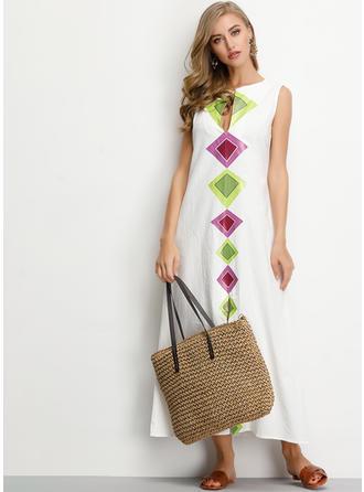 Geometric Print Sleeveless Shift Maxi Casual/Boho Dresses