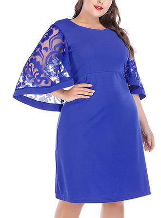 Lace Round Neck Knee Length Sheath Dress