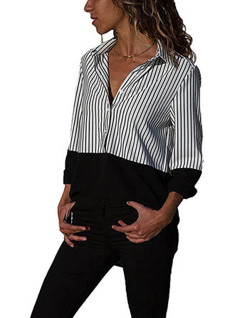 Polyester Lapel Striped Long Sleeves Shirt Blouses