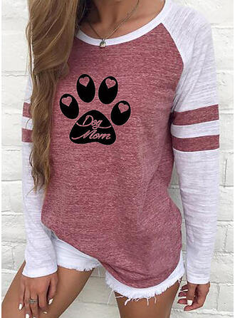 Animal Print Color Block Figure Heart Round Neck Long Sleeves T-shirts