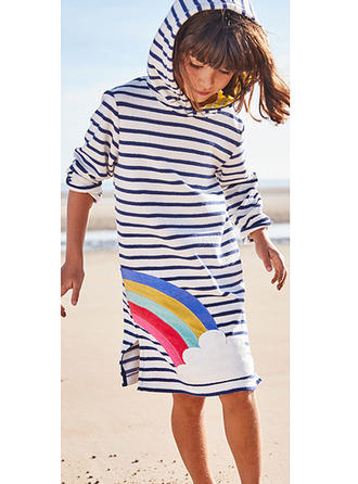 Girls Round Neck Floral Striped Casual Dress