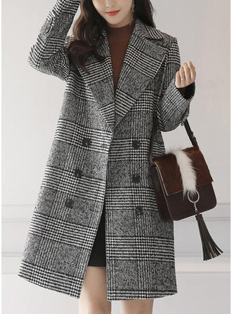 Polyester Long Sleeves Houndstooth Woolen Coats