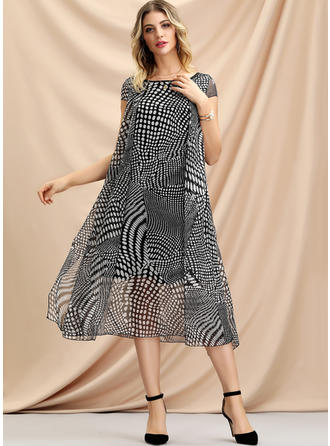 PolkaDot Cap Sleeve Shift Midi Casual Dresses