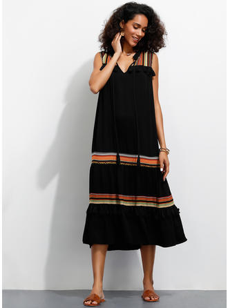 Print Sleeveless Shift Midi Casual Dresses