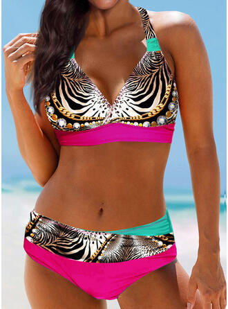 Leopard Print Halter V-Neck Sexy Bikinis Swimsuits