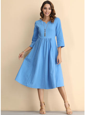 3/4 Sleeves Midi Dresses