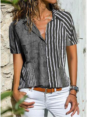 Πετό Κοντά Μανίκια Χωρίς Κουμπιά Κολάρου Καθημερινό Μπλούζες Πουκάμισα