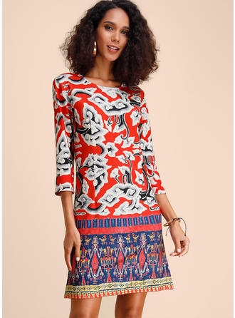 Print 3/4 Sleeves Shift Above Knee Casual/Elegant Dresses