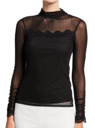 Solido Pizzo Alzarsi il colletto Maniche lunghe Elegante Sexy Sottile Camicie