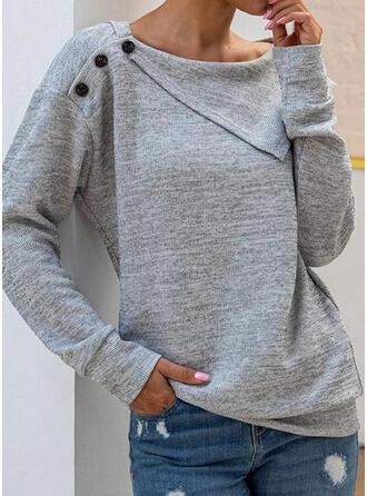 Solid rund hals Lange ærmer Sweatshirts (1001317323)