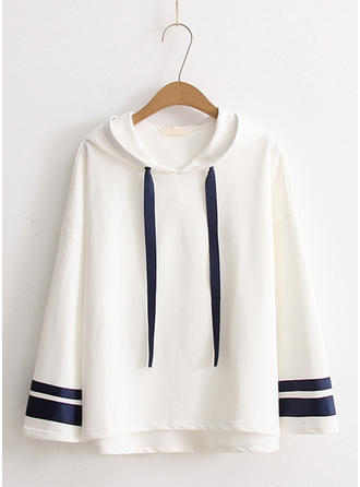 Cotton Blends Striped Hoodie