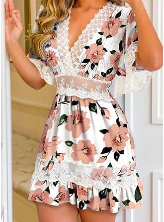 Nadruk/Kwiatowy Koronka Rękawy 1/2 Rękawisko Sukienka Trapezowa Nad kolana Nieformalny Łyżwiaż Sukienki