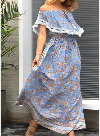 Print Bohemian Off-the-Shoulder Maxi A-line Dress