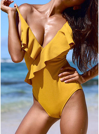 Splice color Strap Elegant One-piece Swimsuits