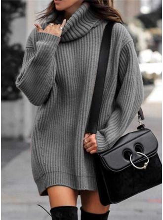 Einfarbig Grobstrick Rollkragen Pulloverkleid